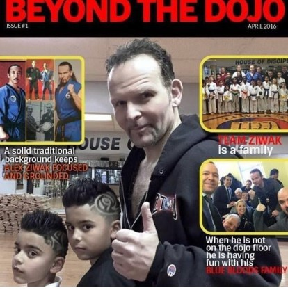 Image shows front cover of Beyond The Dojo magazine featuring Alex Ziwak and his dojo.