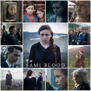 Image shows photo montage of scenes from Sami Blood. The central photo is the theatrical poster for the movie.