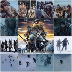 Image shows photo montage of scenes from The Last King. Centre is the theatrical poster for the film.