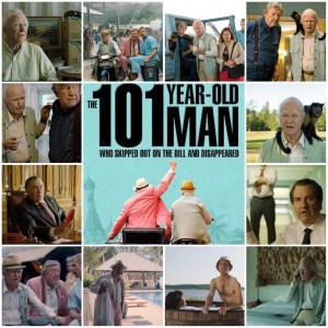 Image shows photo montage of scenes from The 101 Year-Old Man Who Skipped Out on the Bill and Disappeared. Central photo is the theatrical poster for the movie