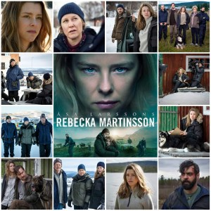 Image shows a photo montage of scenes from Rebecka Martinsson S2. Centre is the theatrical poster for S2 of the show.