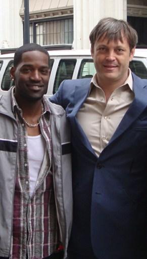 Derek Roberts (left) with Vince Vaughan (right)
