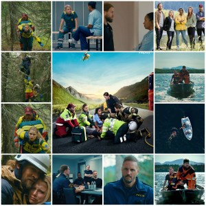 Photo montage of scenes from Mountain Rescue (First Responders) Central image is a poster for the show.