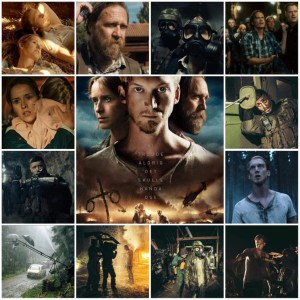 Image is a photo montage of scenes and behind the scenes photos from Unthinkable. Centre photo is the theatrical poster for the movie.