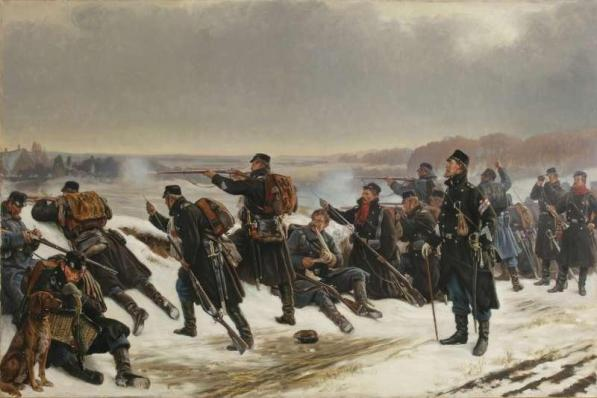Painting of the Battle of Dybbøl as featured in the TV series 1864