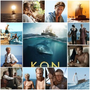 Photo montage of scenes from Kon-Tiki. Central image is the theatrical poster for the film.