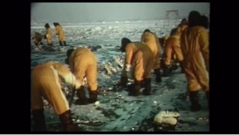 Still from original footage of the clean up after the B-52 crash at Thule Airbase from The Idealist.