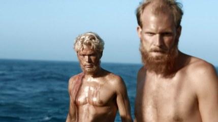 Jakob Oftebro (left) as Torstein Raby and Gustaf Skarsgård (right) as Bengt Danielsson in Kon-Tiki