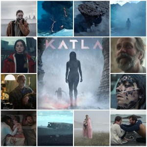 A montage of scenes from Katla. Central image is the theatrical poster for the show.