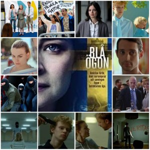 Photo montage of scenes from Blue Eyes. Central image is the theatrical poster for the show.