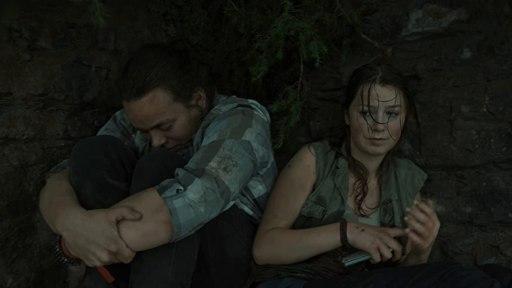 Aleksander Holmen (Magnus) on the left and Andrea Berntzen (Kaja) left in a scene from Utøya- July 22