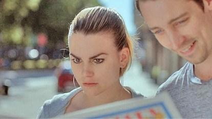 Karin Franz Körlof as Sofia Nilsson (left) with Adam Lundgren as Matthias Cedergrn (right) in Blue Eyes