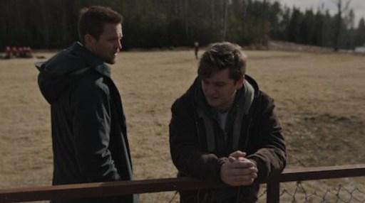 Tobias Santelmann (left) as Nikolai and Benjamin Helstad (right) as Lars in Borderliner
