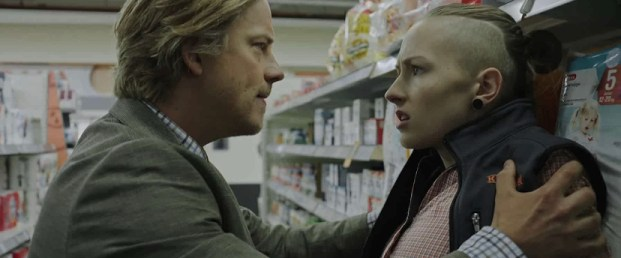 Timo Pesonen (Reima Lindman) left and Moona Komulainen (Nína Lindman) right in a scene from All the Sins