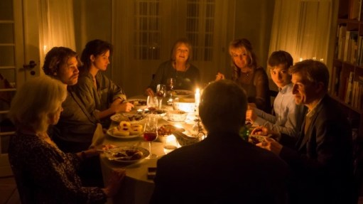 The Christmas dinner scene with the whole cast in Silent Heart