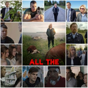 Image is a montage of scenes from All the Sins S1. The central image is the theatrical poster for the show