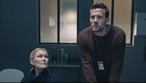 Ellen Dorrit Pedersen as Anniken (left) with Tobias Santelmann as Nikolai (right) in a scene from Borderliner