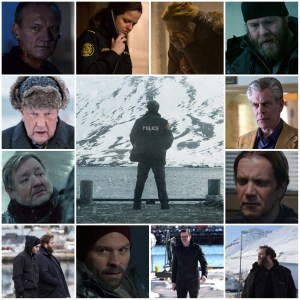 Photo montage of characters and scenes from Trapped S1. Central image is the theatrical poster for the show.