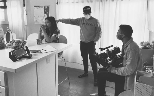 Stephen Snavely (centre) directing on the set of Think Lovely Thoughts