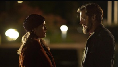 Malin Crépin as Lisa (left) with Magnus Krepper as Stefan (right) in a scene from When the Dust Settles