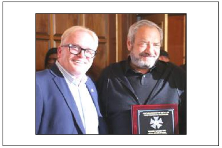 Dick Wolf recipient of Local 476 Honorary Gold Card