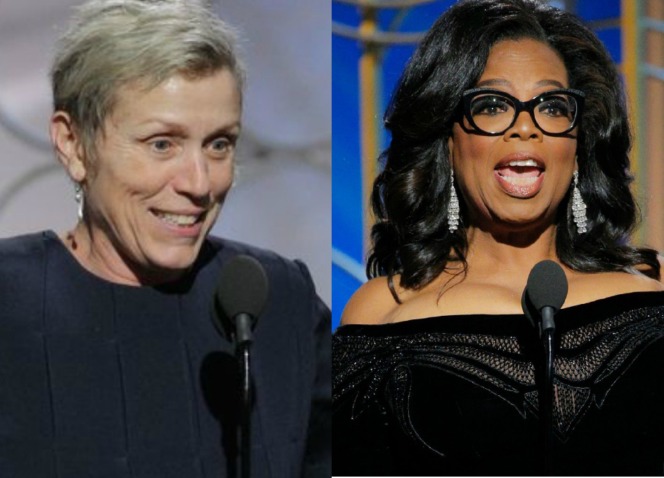 McDormand and Winfrey at the Golden Globes