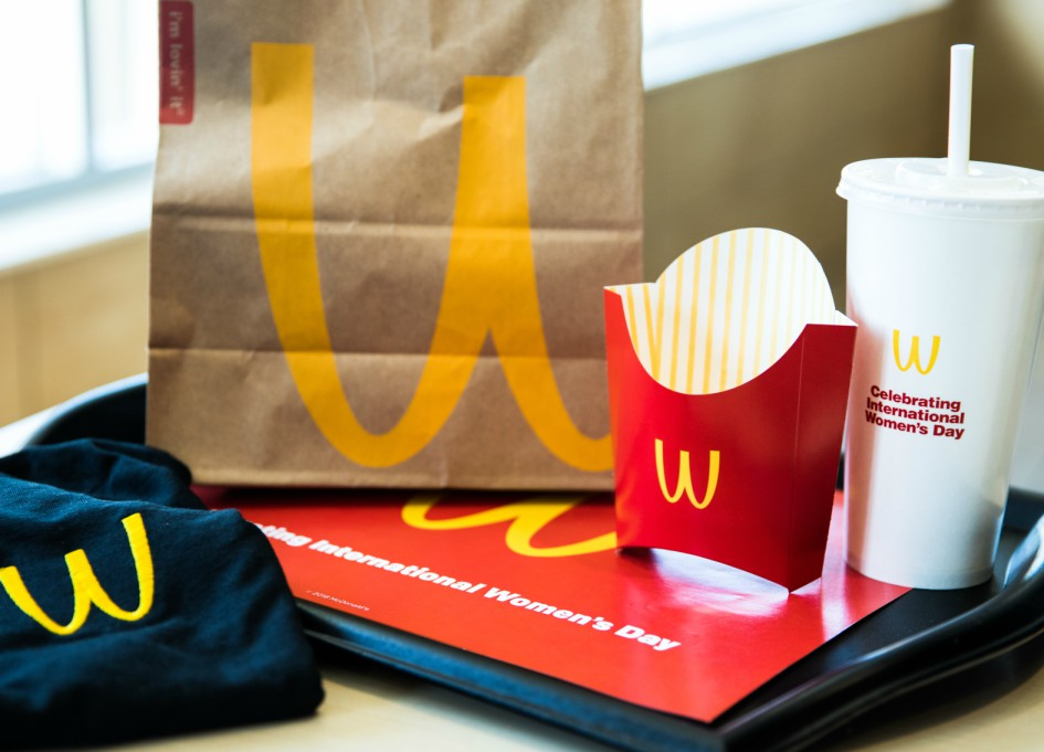 McD's Golden Arches flip for International Women's Day