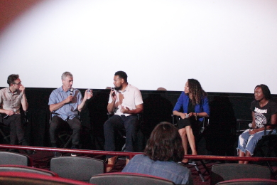 """Anthony Kaufman, Steve James, Kevin Shaw, Jessica Stovall, and Tiara Oliphant discuss """"America to Me"""" at the AMC Theater, August 14, 2018"""