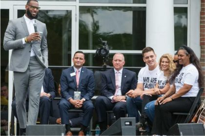 LeBron at the opening ceremony for the I Promise School in Akron, Ohio