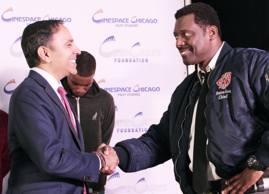 "Congressman Raja Krishnamoorthi greets ""Chicago Fire"" star Eamonn Walker"