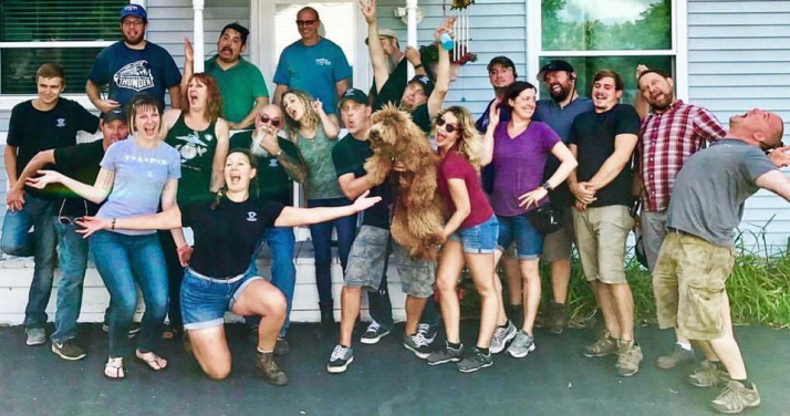 Crew and family celebrate the completion of another episode