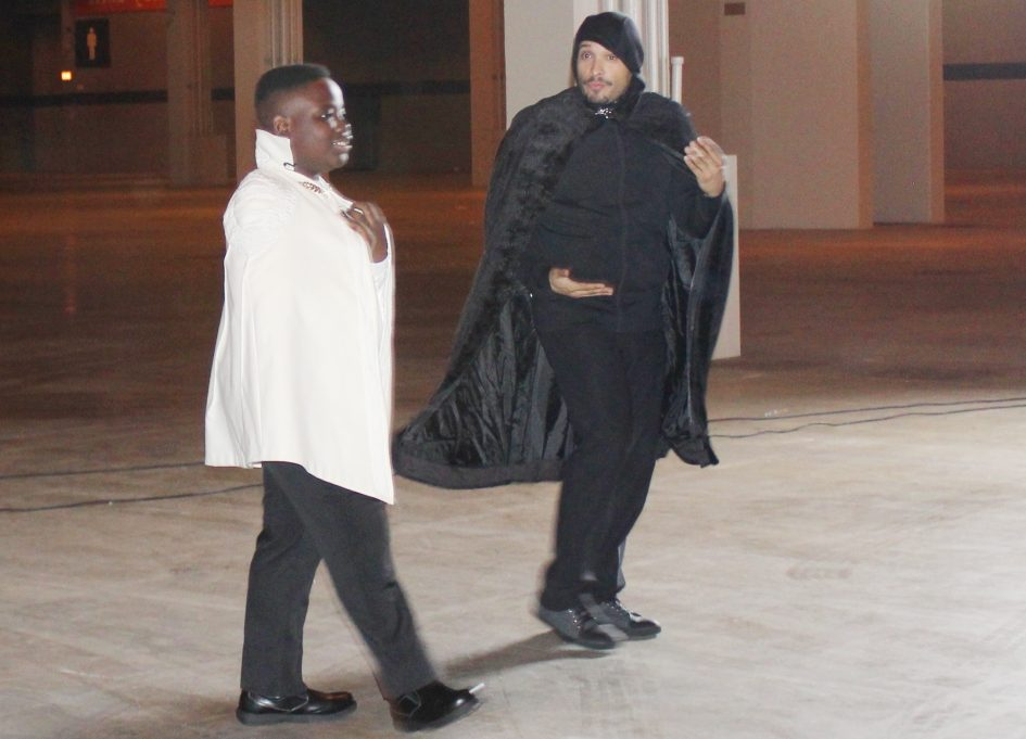 """Bonaparte Moutima and Joe Minosa on the set of """"The Serum"""" at McCormick Place"""
