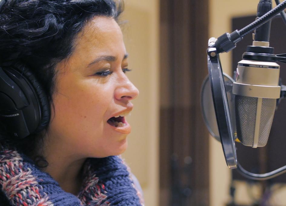 "Sandra Antongiorgi sings ""America La Hermosa"" at Noisefloor Studios"