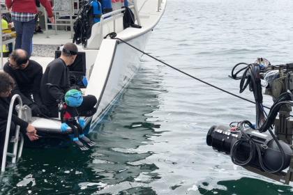"""Preparing a scene for """"Shark Bait"""""""
