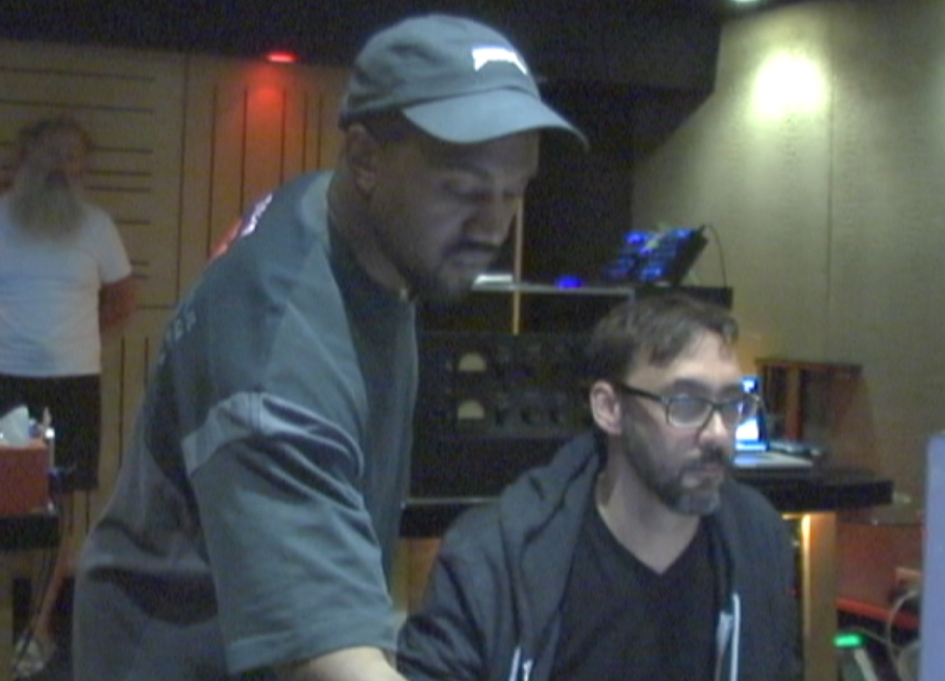 Rick Rubin, Kanye West, and Anthony Kilhoffer in the control room