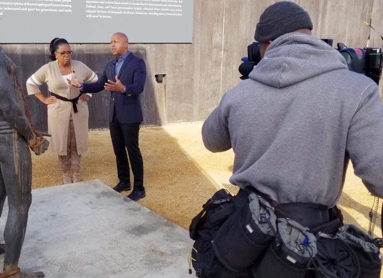 Keith Walker films Oprah Winfrey and Bryan Stevenson for '60 Minutes'