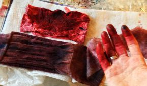 Bloody bandages made with food colouring