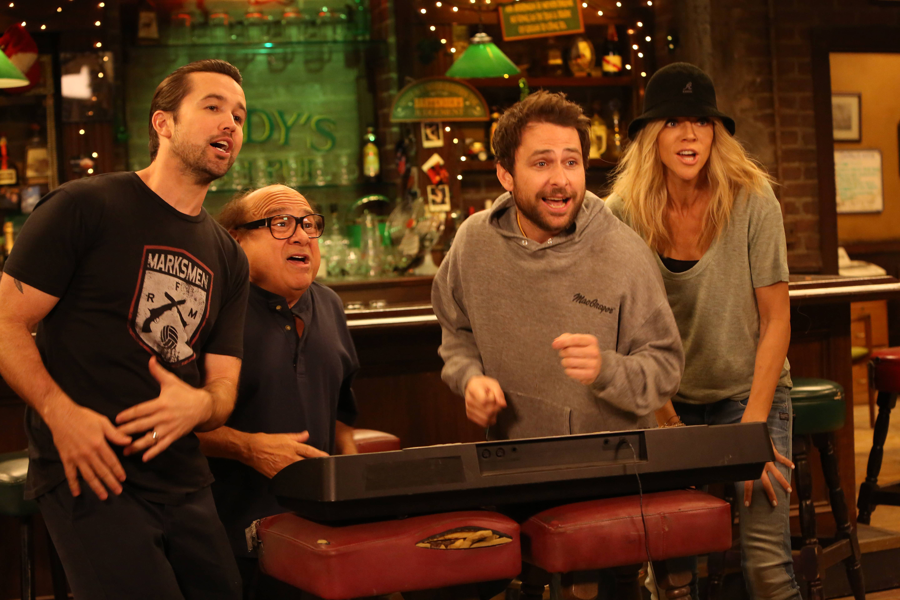 IT'S ALWAYS SUNNY IN PHILADELPHIA - Pictured: (L-R) Rob McElhenney as Mac, Danny DeVito as Frank Reynolds, Charlie Day as Charlie Kelly, Kaitlin Olson as Dee Reynolds. CR: Patrick McElhenney/FX