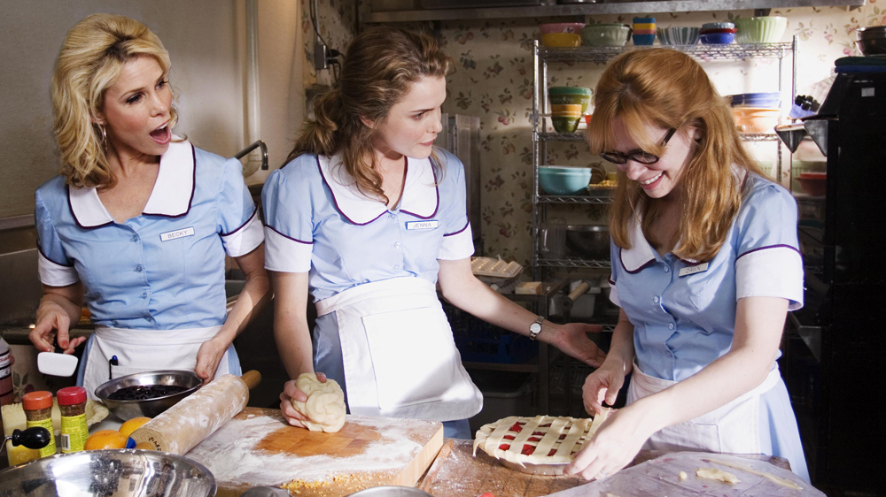 "Cheryl Hines, Keri Russell, and Adrienne Shelly star in ""Waitres"" from Fox Searchlight Pictures."