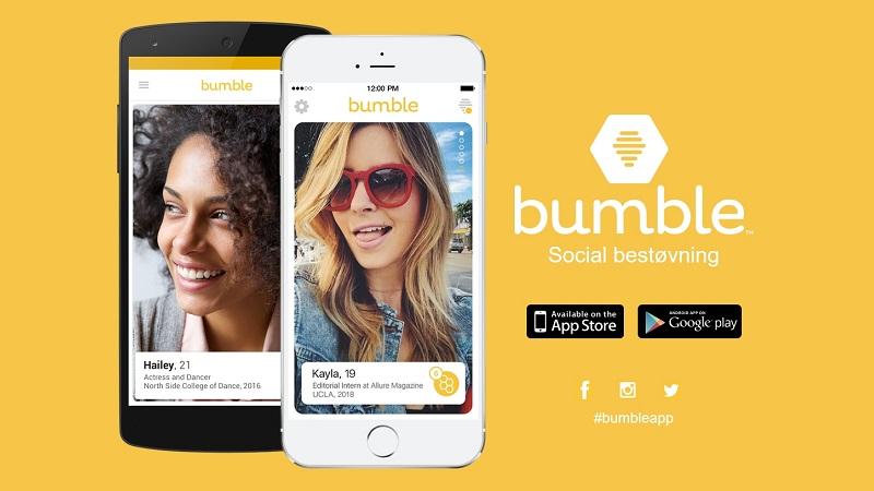 På dating-appen Bumble kan mænd kun skrive til de kvinder, der er blevet kontaktet af. Billede: Bumble.com.