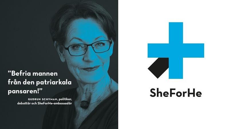 Partileder i Feministisk Initiativ, Gudrun Schyman (tv.), er en af tre ambassadører den nye kampagne #SheForHe. De to andre er Ida Ida Östensson og Anna Giotas.