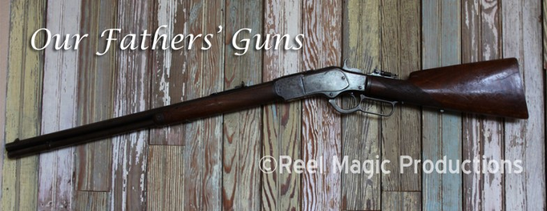 "From Our Fathers' Guns: Winchester model 1873 Repeating rifle -- ""The Rifle that won the West"" This one was used both in the Indian Wars and for home protection and providing the owner's family with fresh meat. This rifle last saw usage during deer season 2012. The background is leftover wainscoting board from the old family farm built in the early 1800's outside Chesterfield. MO. One of the first ""assault rifles,"" it was a hangin' offense to sell or trade these to the Indians."