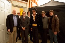 "(Left to Right) Egil ""Bud"" Krogh, Evan Peters, Kevin Spacey, Johnny Knoxville, Michael Shannon, Jerry Schilling, and Alex Pettyfer on the set of ELVIS & NIXON, an Amazon Studios / Bleecker Street release."