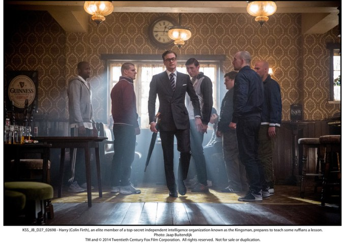 Harry (Colin Firth), an elite member of a top-secret independent intelligence organization known as the Kingsman, prepares to teach some ruffians a lesson.
