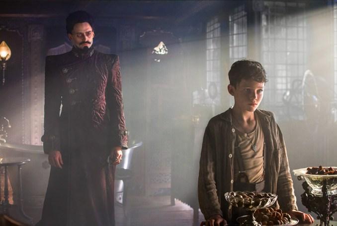 "(L-r) HUGH JACKMAN as Blackbeard and LEVI MILLER as Peter in Warner Bros. Pictures' action adventure ""PAN,"" a Warner Bros. Pictures release. Photo by Laurie Sparham"