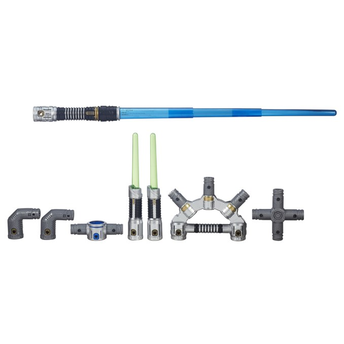 Star Wars? Bladebuilders Jedi Master Lightsaber Licensee: Hasbro MSRP: $49.99 Available: September 4 The definitive lightsaber of the Bladebulders system provides kids with the unique components needed to create 100+ combinations from their imagination. The Jedi Master Lightsaber comes with a main lightsaber featuring lights and sounds, two independently-lit lightdaggers, expansion hilt, two elbow connectors, dual connector, and cross connector. Requires three AAA batteries, included.