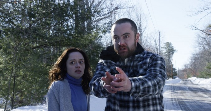 "(L-R) Lauren Ashley Carter as Rachel Meadows and Graham Skipper as Zack Connors in the horror film ""THE MIND'S EYE"" an RLJ Entertainment release. Photo credit Joe Begos."