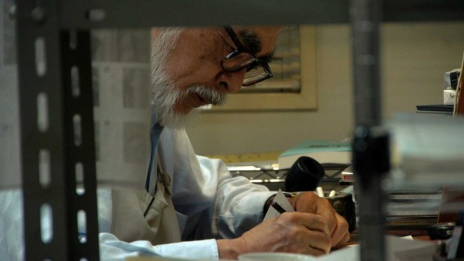 Hayao Miyazaki working on The Wind Rises