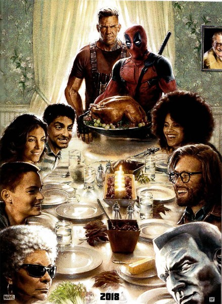 Deadpool 2 poster on the reel review podcast Home for the holidays