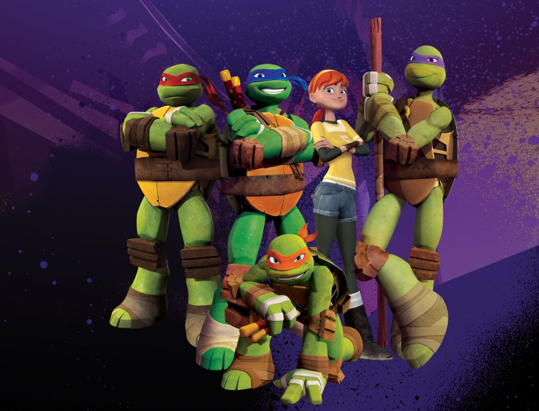 Cartoon picture of Raphael (red mask), Leonardo (blue mask), April (red hair), Donatello (purple mask) and Michelangelo (orange mask), in TEENAGE MUTANT NINJA TURTLES stand in a group with poses of courage and a red-haired girl is among them